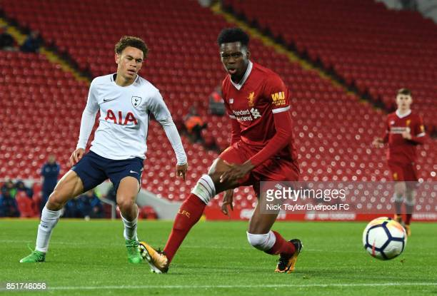 Ovie Ejaria of Liverpool and Luke Amos of Tottenham Hotspur in action during the Liverpool v Tottenham Hotspur Premier League 2 game at Anfield on...