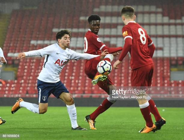 Ovie Ejaria of Liverpool and Samuel Shashoua of Tottenham Hotspur in action during the Liverpool v Tottenham Hotspur Premier League 2 game at Anfield...