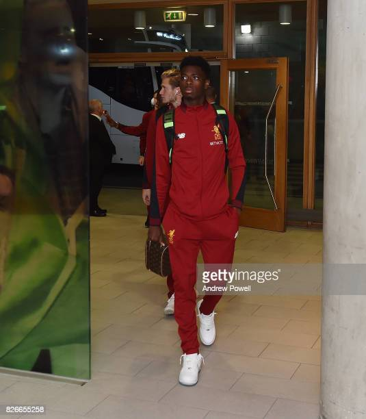 Ovie Ejaria of Liverpool arrives before a pre season friendly match between Liverpool and Athletic Bilbao at Aviva Stadium on August 5 2017 in Dublin...