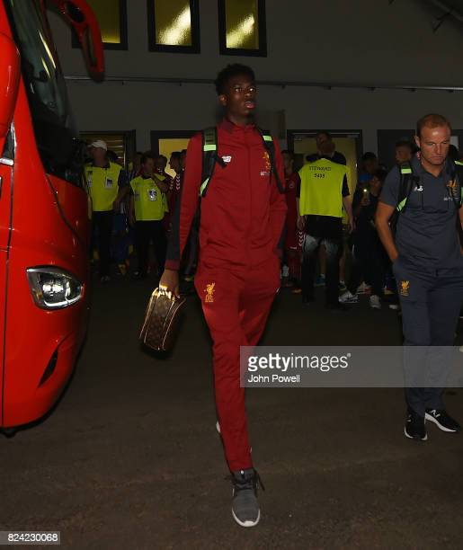 Ovie Ejaria of Liverpool arrives before the preseason friendly match between Hertha BSC and FC Liverpool at Olympiastadion on July 29 2017 in Berlin...