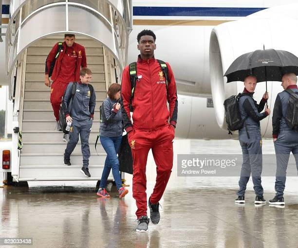Ovie Ejaria of Liverpool arriving at Munich International Airport for the pre season training camp on July 26 2017 in Munich Germany