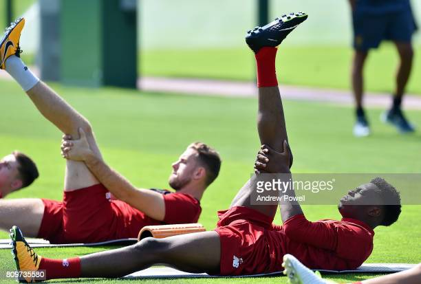 Ovie Ejaria of Liverpool during a training session at Melwood Training Ground on July 6 2017 in Liverpool England