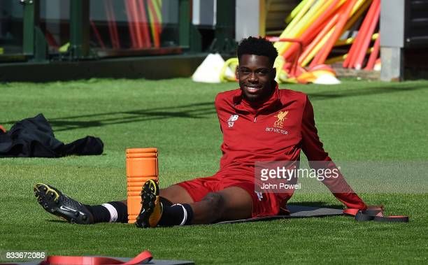 Ovie Ejaria of Liverpool during a training session at Melwood Training Ground on August 17 2017 in Liverpool England