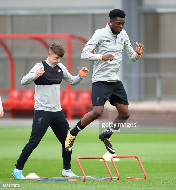 Ovie Ejaria of Liverpool during a training session at Melwood training ground on August 22 2017 in Liverpool England
