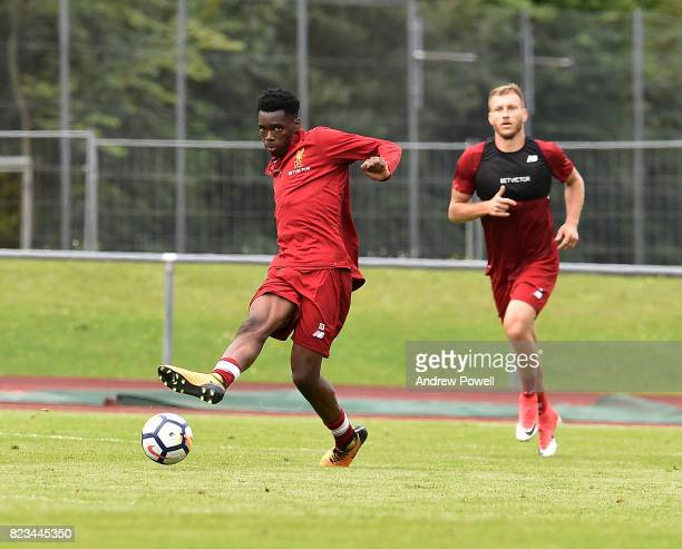 Ovie Ejaria of Liverpool during a training session at RottachEgern on July 27 2017 in Munich Germany
