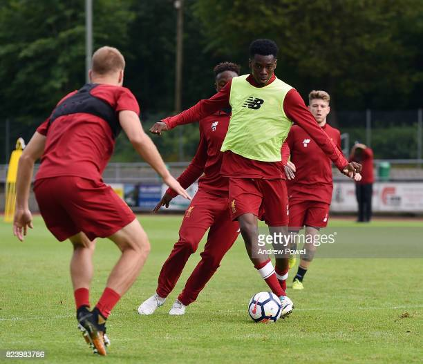 Ovie Ejaria of Liverpool during a training session at RottachEgern on July 28 2017 in Munich Germany