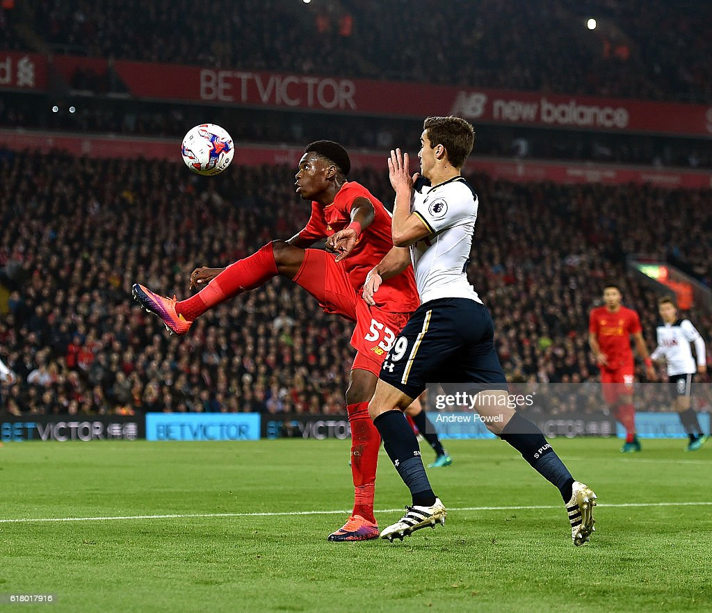 Ovie Ejaria of Liverpool during the EFL Cup fourth round match between Liverpool and Tottenham Hotspur at Anfield on October 25, 2016 in Liverpool, England.