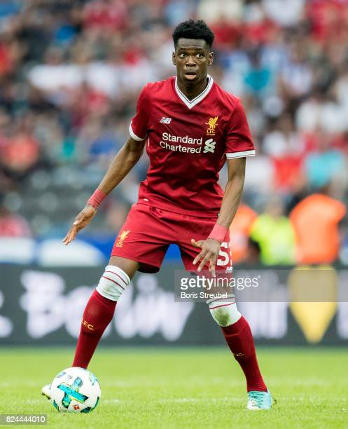 Ovie Ejaria of Liverpool FC runs with the ball during the Preseason Friendly match between Hertha BSC and FC Liverpool at Olympiastadion on July 29...