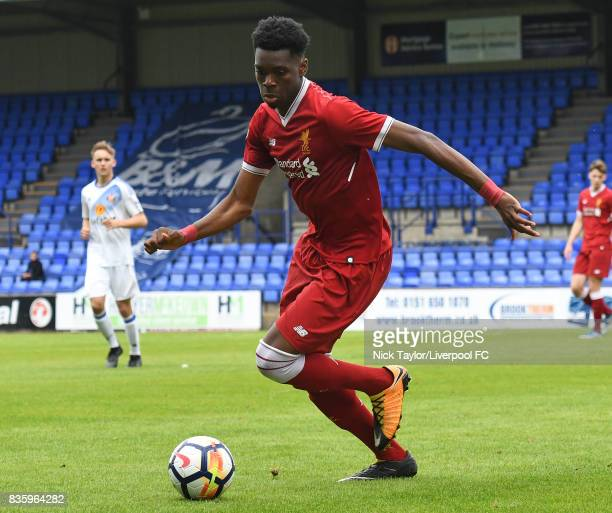 Ovie Ejaria of Liverpool in action during the Liverpool v Sunderland U23 Premier League game at Prenton Park on August 20 2017 in Birkenhead England