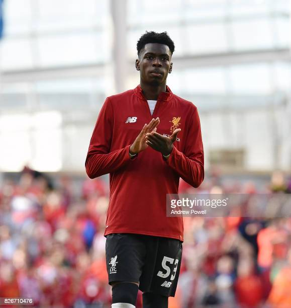 Ovie Ejaria of Liverpool shows his appreciation to the fans at the end of the pre season friendly match between Liverpool and Athletic Bilbao at...
