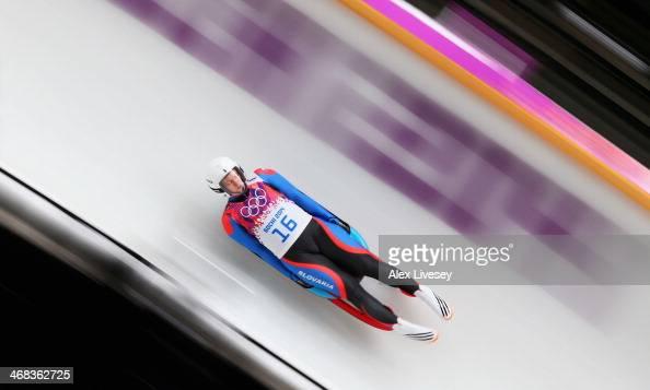 OViera Gburova of Slovakia makes a run during the Women's Luge Singles on Day 3 of the Sochi 2014 Winter Olympics at Sliding Center Sanki on February...