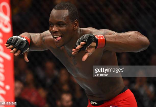 Ovince Saint Preux celebrates his submission victory over Marcos Rogerio De Lima of Brazil in their light heavyweight bout during the UFC Fight Night...