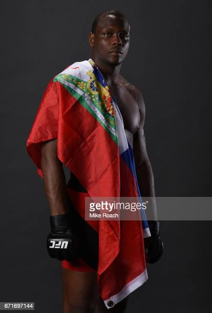 Ovince Saint Preux poses for a portrait backstage after his victory over Marcos Rogerio De Lima during the UFC Fight Night event at Bridgestone Arena...