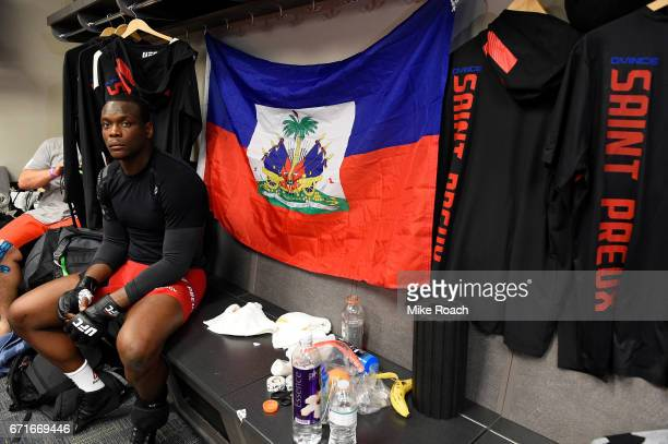 Ovince Saint Preux relaxes in his locker room prior to his fight during the UFC Fight Night event at Bridgestone Arena on April 22 2017 in Nashville...