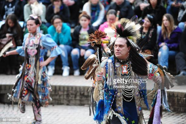 Ow Hi of the Warm Springs tribe takes part in a protest showing solidarity with the 'Native Nations Rise' march on Washington DC against the...