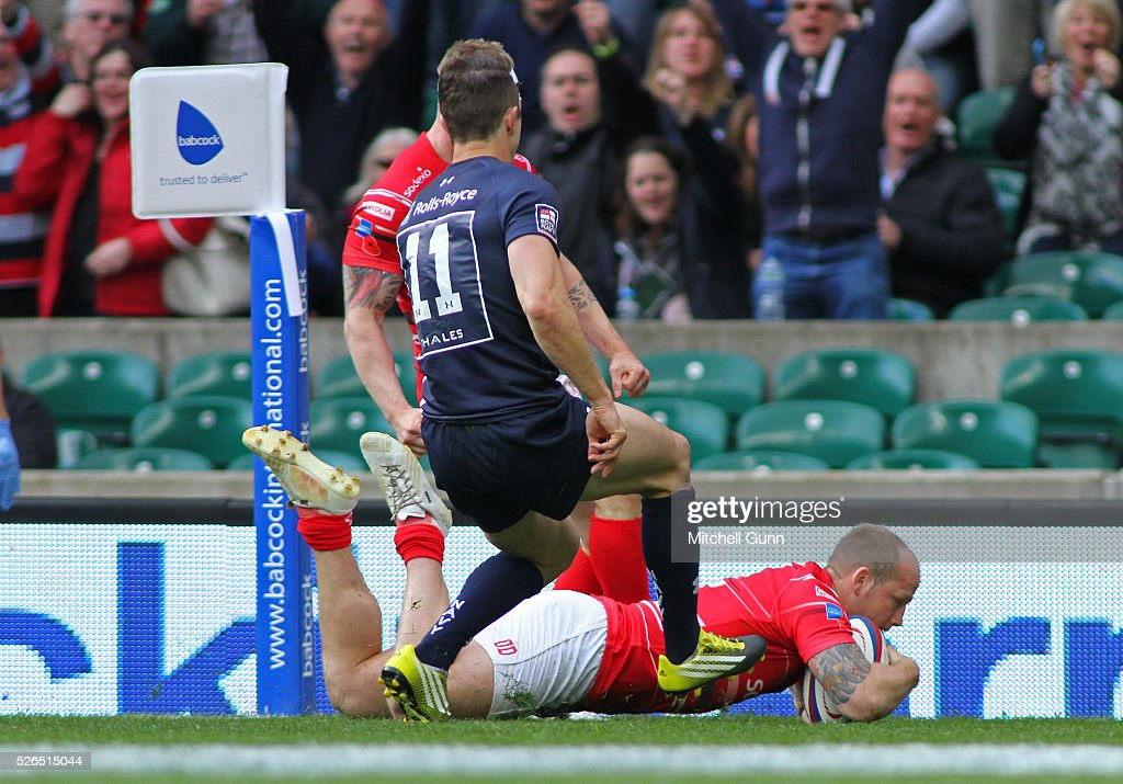 Owain Davies of Army scores a try during the Babcock Trophy rugby union match between The British Army and the Royal Navy played in Twickenham Stadium, on April 30, 2016 in Twickenham, England.