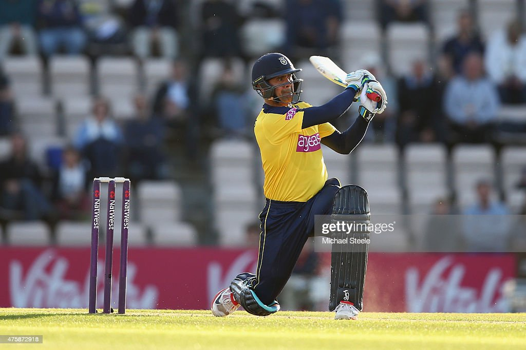 Owais Shah of Hampshire hits out during the NatWest T20 Blast match between Hampshire and Middlesex at the Ageas Bowl on June 4 2015 in Southampton...