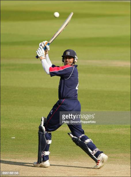 Owais Shah of Middlesex hits out during the Totesport League Division 1 match between Middlesex and Hampshire at Lord's Cricket Ground in London on...