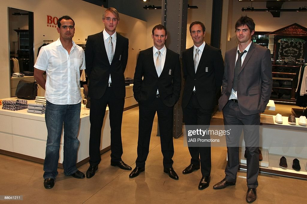 Owais Shah Stuart Broad Andrew Strauss Michael Vaughan and James Andersen attend the PreAshes VIP Cricket Party and launch of the new BOSS in Motion...