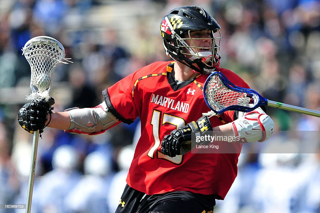 Owen Blye #13 of the Maryland Terrapins runs with the ball against the Duke Blue Devils at Koskinen Stadium on March 2, 2013 in Durham, North Carolina. Maryland defeated Duke 16-7.