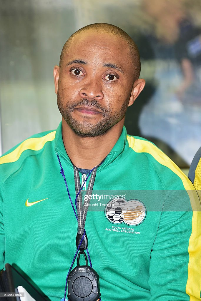 Owen Da Gama, head coach of South Africa looks on prior to the U-23 international friendly match between Japan and South Africa at the Matsumotodaira Football Stadium on June 29, 2016 in Matsumoto, Nagano, Japan.