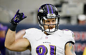 Owen Daniels of the Baltimore Ravens works out on the field before the start of the game against the Houston Texans at NRG Stadium on December 21...