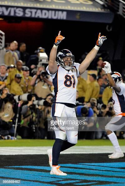 Owen Daniels of the Denver Broncos celebrates against the Carolina Panthers during Super Bowl 50 at Levi's Stadium on February 7 2016 in Santa Clara...