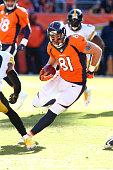 Owen Daniels of the Denver Broncos in action during the game against the Pittsburgh Steelers at Sports Authority Field At Mile High on January 17...
