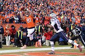 Owen Daniels of the Denver Broncos makes a touchdown catch in the second quarter The Denver Broncos played the New England Patriots in the AFC...
