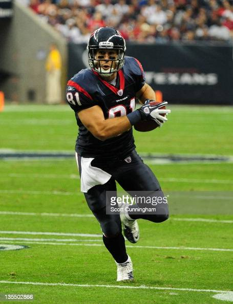 Owen Daniels of the Houston Texans runs with a catch against the Atlanta Falcons at Reliant Stadium on December 4 2011 in Houston Texas