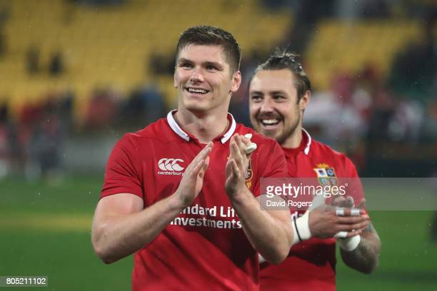 Owen Farrell and Jack Nowell of the Lions celebrate following their team's 2421 victory during the second test match between the New Zealand All...