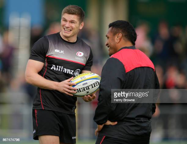 Owen Farrell and Mako Vunipola of Saracens before the Aviva Premiership match between Saracens and London Irish at Allianz Park on October 28 2017 in...