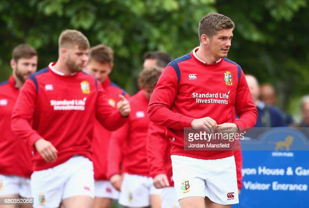 Owen Farrell and team mates look on during a British and Irish Lions press conference at London Syon Park Hotel on May 8 2017 in London England