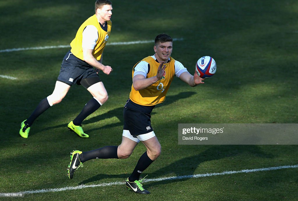 Owen Farrell catches the ball during the England training session held at Pennyhill Park on February 19, 2013 in Bagshot, England.