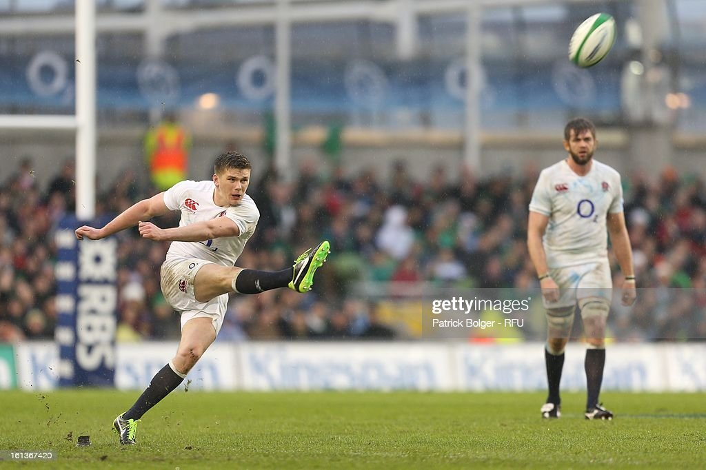 <a gi-track='captionPersonalityLinkClicked' href=/galleries/search?phrase=Owen+Farrell&family=editorial&specificpeople=4809668 ng-click='$event.stopPropagation()'>Owen Farrell</a> in action during the RBS Six Nations match between Ireland and England at Aviva Stadium on February 10, 2013 in Dublin, Ireland.
