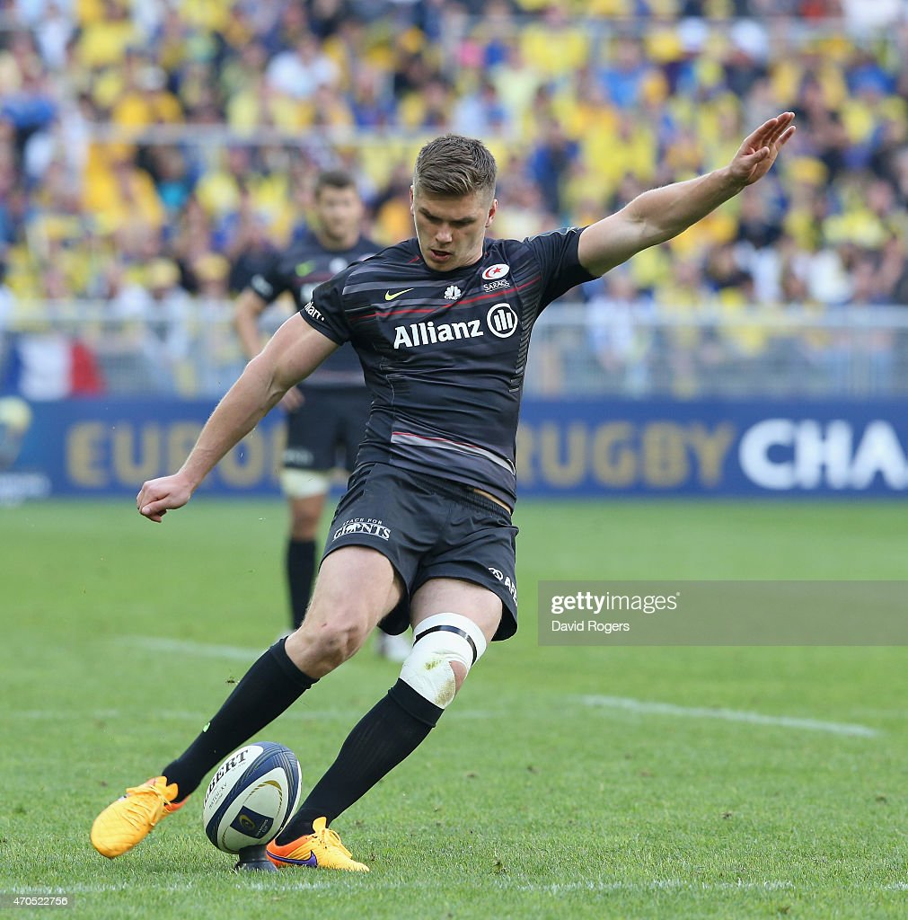 asm clermont auvergne v saracens european rugby champions cup owen farrell kicks a penalty during the european rugby champions cup semi final match between asm