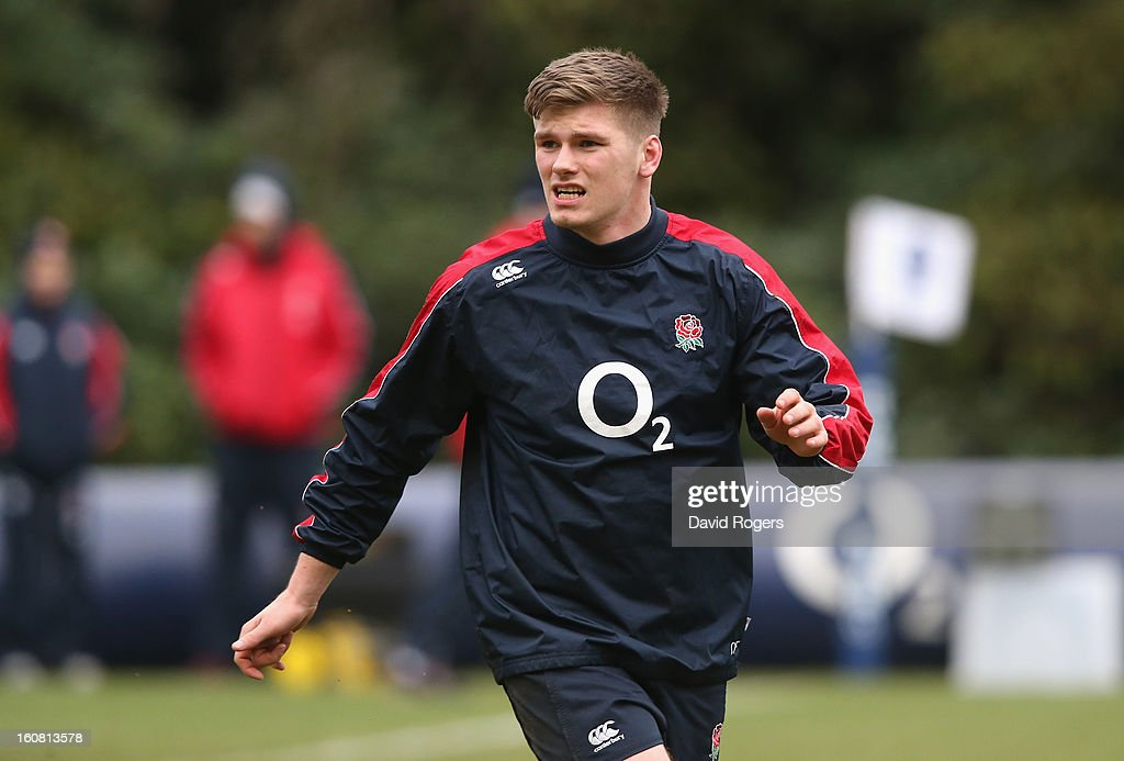 <a gi-track='captionPersonalityLinkClicked' href=/galleries/search?phrase=Owen+Farrell&family=editorial&specificpeople=4809668 ng-click='$event.stopPropagation()'>Owen Farrell</a> looks on during the England training session held at Pennyhill Park on February 6, 2013 in Bagshot, England.