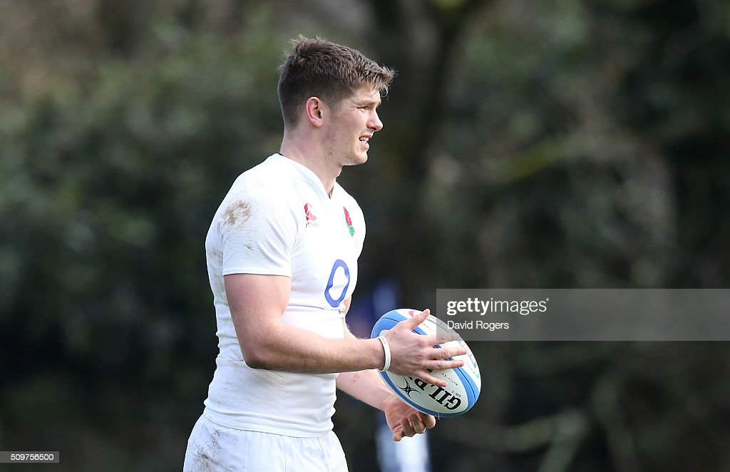 <a gi-track='captionPersonalityLinkClicked' href=/galleries/search?phrase=Owen+Farrell&family=editorial&specificpeople=4809668 ng-click='$event.stopPropagation()'>Owen Farrell</a> looks on during the England training session held at Pennyhill Park on February 12, 2016 in Bagshot, England.