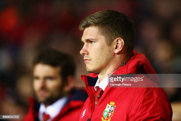Owen Farrell looks on during the match between the New Zealand Maori and the British Irish Lions at Rotorua International Stadium on June 17 2017 in...