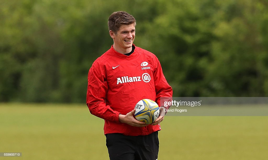 <a gi-track='captionPersonalityLinkClicked' href=/galleries/search?phrase=Owen+Farrell&family=editorial&specificpeople=4809668 ng-click='$event.stopPropagation()'>Owen Farrell</a> looks on during the Saracens training session held on May 24, 2016 in St Albans, England.