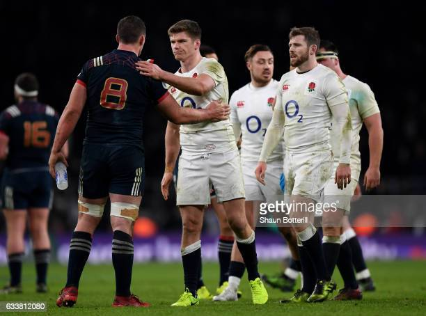 Owen Farrell of England and Louis Picamoles of France shake hands after the RBS Six Nations match between England and France at Twickenham Stadium on...
