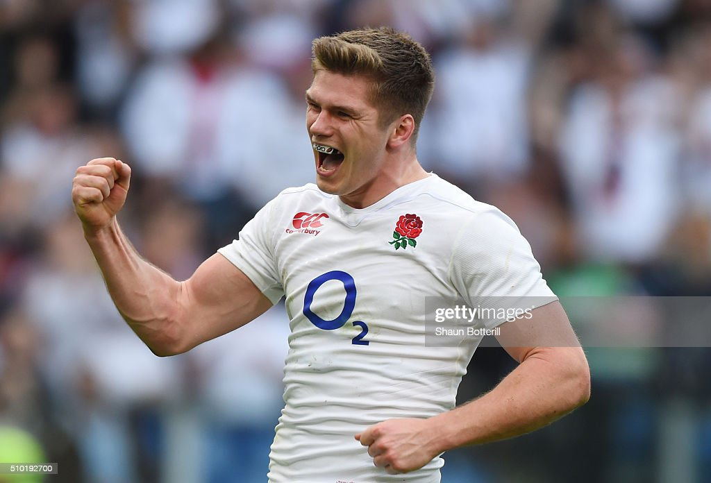 <a gi-track='captionPersonalityLinkClicked' href=/galleries/search?phrase=Owen+Farrell&family=editorial&specificpeople=4809668 ng-click='$event.stopPropagation()'>Owen Farrell</a> of England celebrates after scoring his team's fifth try during the RBS Six Nations match between Italy and England at the Stadio Olimpico on February 14, 2016 in Rome, Italy.