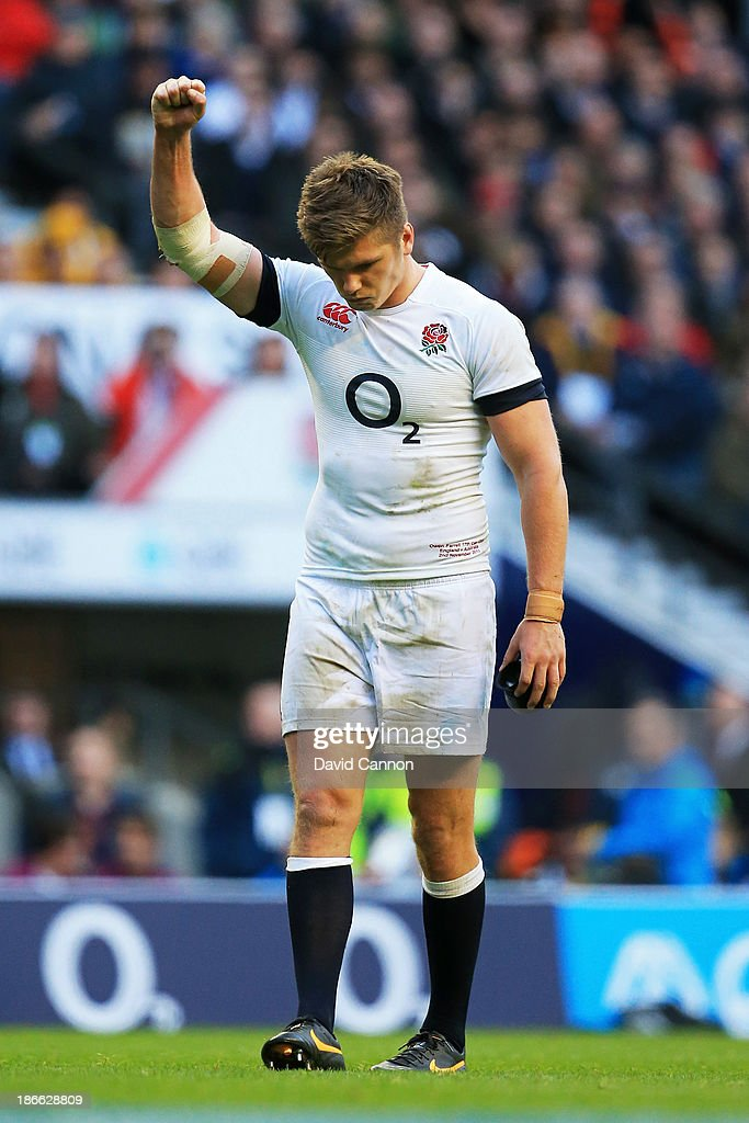 <a gi-track='captionPersonalityLinkClicked' href=/galleries/search?phrase=Owen+Farrell&family=editorial&specificpeople=4809668 ng-click='$event.stopPropagation()'>Owen Farrell</a> of England celebrates after scoring his team's second try during the QBE International match between England and Australia at Twickenham Stadium on November 2, 2013 in London, England.