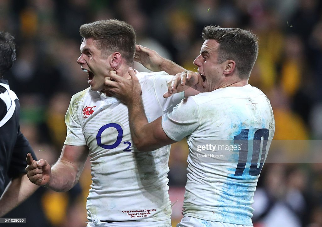 <a gi-track='captionPersonalityLinkClicked' href=/galleries/search?phrase=Owen+Farrell&family=editorial&specificpeople=4809668 ng-click='$event.stopPropagation()'>Owen Farrell</a> (L) of England celebrates with team mate <a gi-track='captionPersonalityLinkClicked' href=/galleries/search?phrase=George+Ford+-+Rugby+Union+Player&family=editorial&specificpeople=11374128 ng-click='$event.stopPropagation()'>George Ford</a> after scoring the winning try during the International Test match between the Australian Wallabies and England at AAMI Park on June 18, 2016 in Melbourne, Australia.