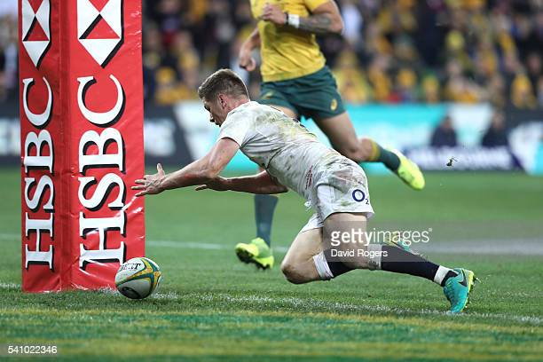 Owen Farrell of England dives ove for the winning try during the International Test match between the Australian Wallabies and England at AAMI Park...