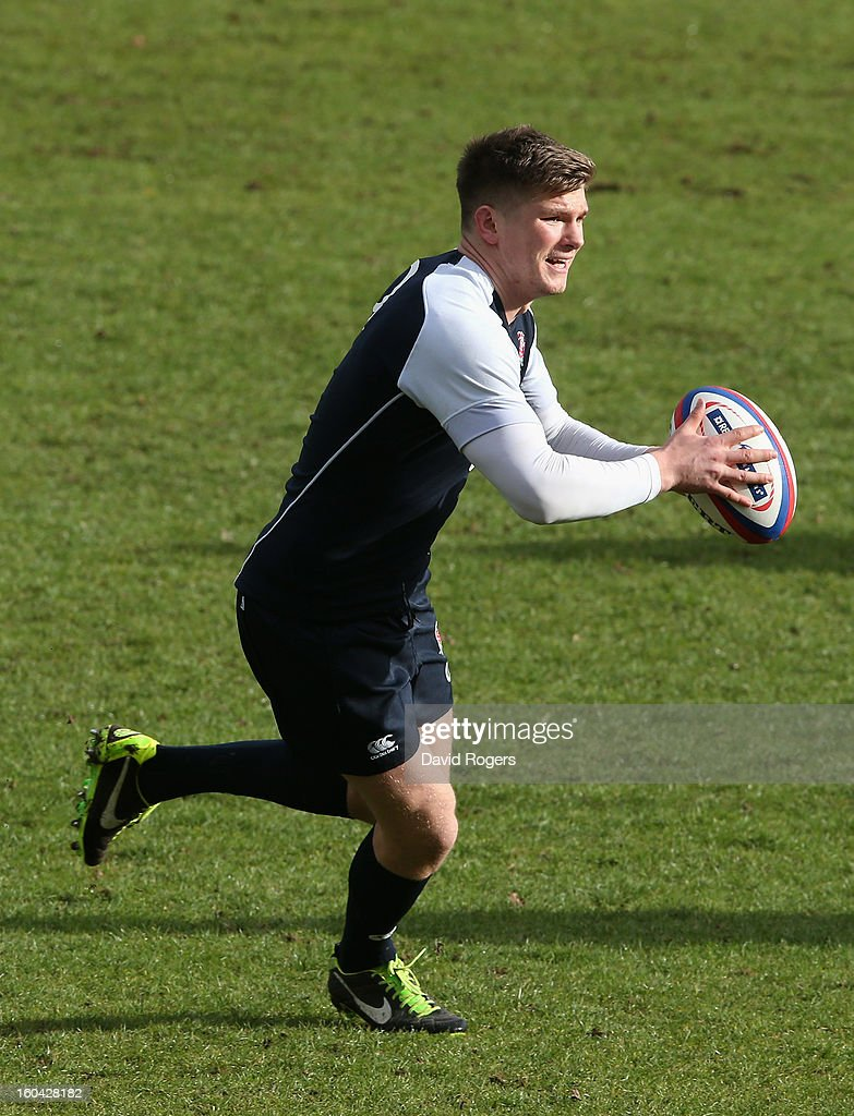 Owen Farrell of England in action during an England training session at Pennyhill Park on January 31, 2013 in Bagshot, England.