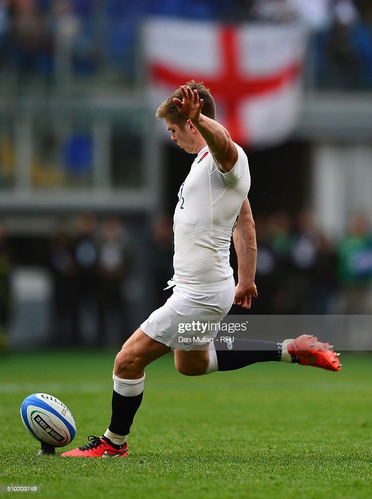 <a gi-track='captionPersonalityLinkClicked' href=/galleries/search?phrase=Owen+Farrell&family=editorial&specificpeople=4809668 ng-click='$event.stopPropagation()'>Owen Farrell</a> of England kicks at goal during the RBS Six Nations match between Italy and England at the Stadio Olimpico on February 14, 2016 in Rome, Italy.
