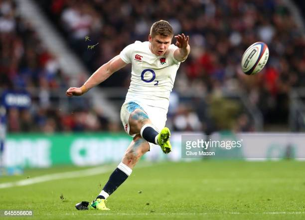 Owen Farrell of England kicks during the RBS Six Nations match between England and Italy at Twickenham Stadium on February 26 2017 in London England