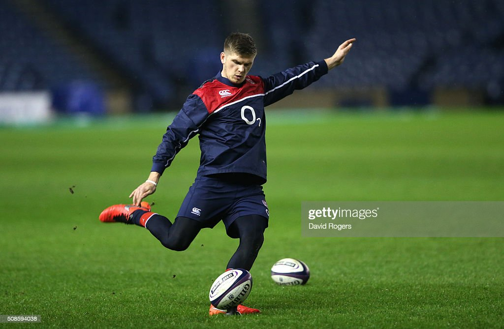 Owen Farrell of England, practices his kicking during a pre match visit to Murrayfield Stadium on February 5, 2016 in Edinburgh, Scotland.