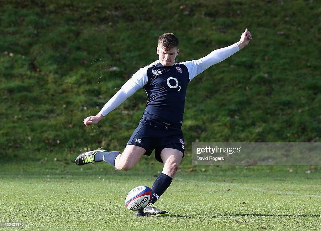 <a gi-track='captionPersonalityLinkClicked' href=/galleries/search?phrase=Owen+Farrell&family=editorial&specificpeople=4809668 ng-click='$event.stopPropagation()'>Owen Farrell</a> of England practices his kicking during an England training session at Pennyhill Park on January 31, 2013 in Bagshot, England.